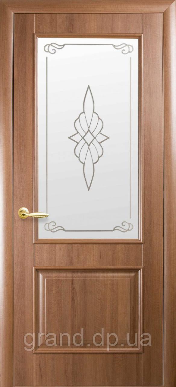 Двери межкомнатные Новый Стиль Вилла ПВХ Deluxe со стеклом и рисунком, цвет золотая ольха