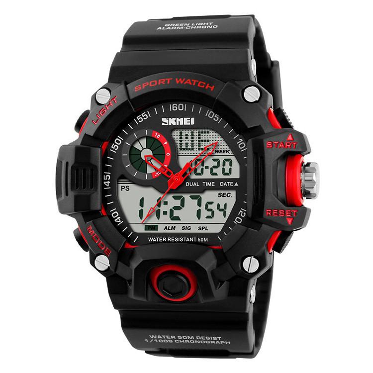 Чоловічі спортивні годинник Skmei S-Shock чорні з червоним