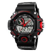 Чоловічі спортивні годинник Skmei S-Shock чорні з червоним, фото 1