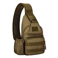 Мужской армейский одно-лямочный рюкзак с зарядкой usb хаки