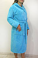 Махровый длинный женский банный халат с капюшоном, на запах р.42-56