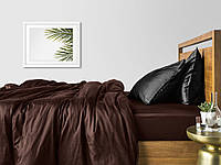 Комплект евро взрослого постельного белья сатин CHOCOLATE BLACK-P