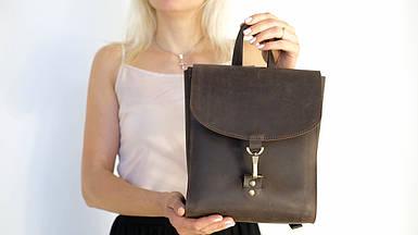 Жіночий шкіряний рюкзак Венеція, розмір міні, натуральна Вінтажна шкіра колір коричневый, оттенок Шоколад