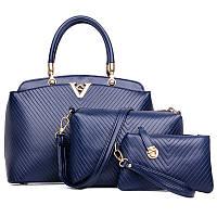 Женская сумка набор 3в1 синий из качественной экокожи, уценка, фото 1