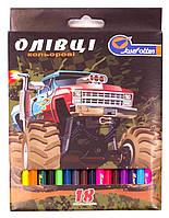 Олівці кольорові Josef Otten 18 кольорів, Монстр-трак