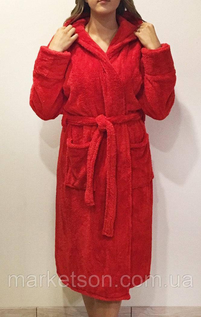 Махровый длинный женский банный халат с капюшоном, на запах р.42-62