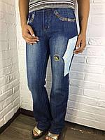 Джинсы женские 2825 синие с аппликацией 25-31