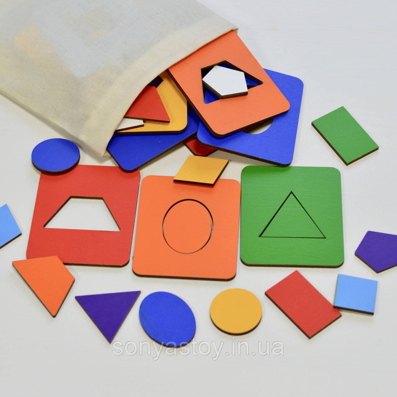 Игра Досочки Сегена Цветные в мешочке, на изучение геометрических форм, 2+