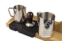Набор бариста: Темпер для кофе (размер от 50 мм до 58 мм), два питчера и коврик для темперовки. Аксессуары!
