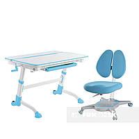 Регулируемая парта FunDesk Volare Blue + Детское ортопедическое кресло Primavera II Blue