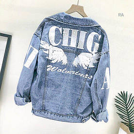 Женская джинсовая куртка  с принотом. МТ-10-0819