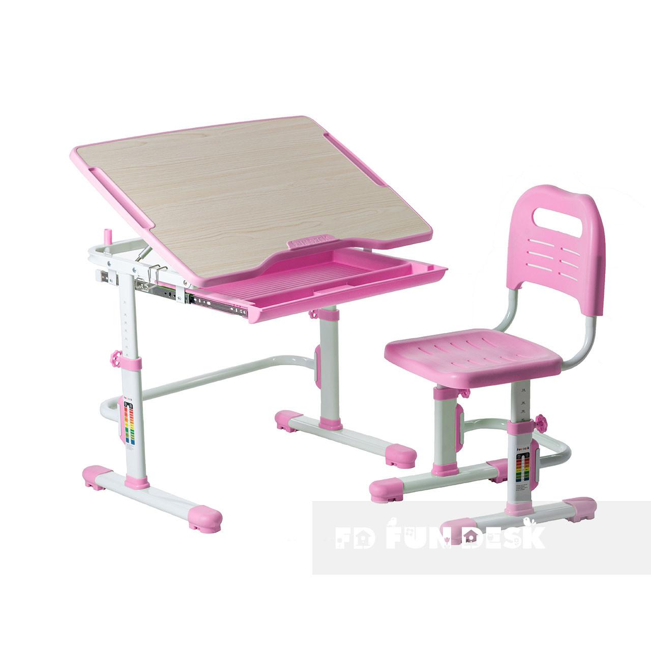 Комплект парта + стул трансформеры Vivo Pink FUNDESK
