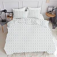 Комплект евро взрослого постельного белья LOVE BLUE WHITE