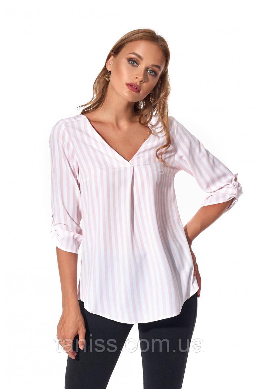 Стильная, оригинальная рубашка свободное силуэта, ткань софт, размеры 42,44,46,48,50 (450.1) розовый