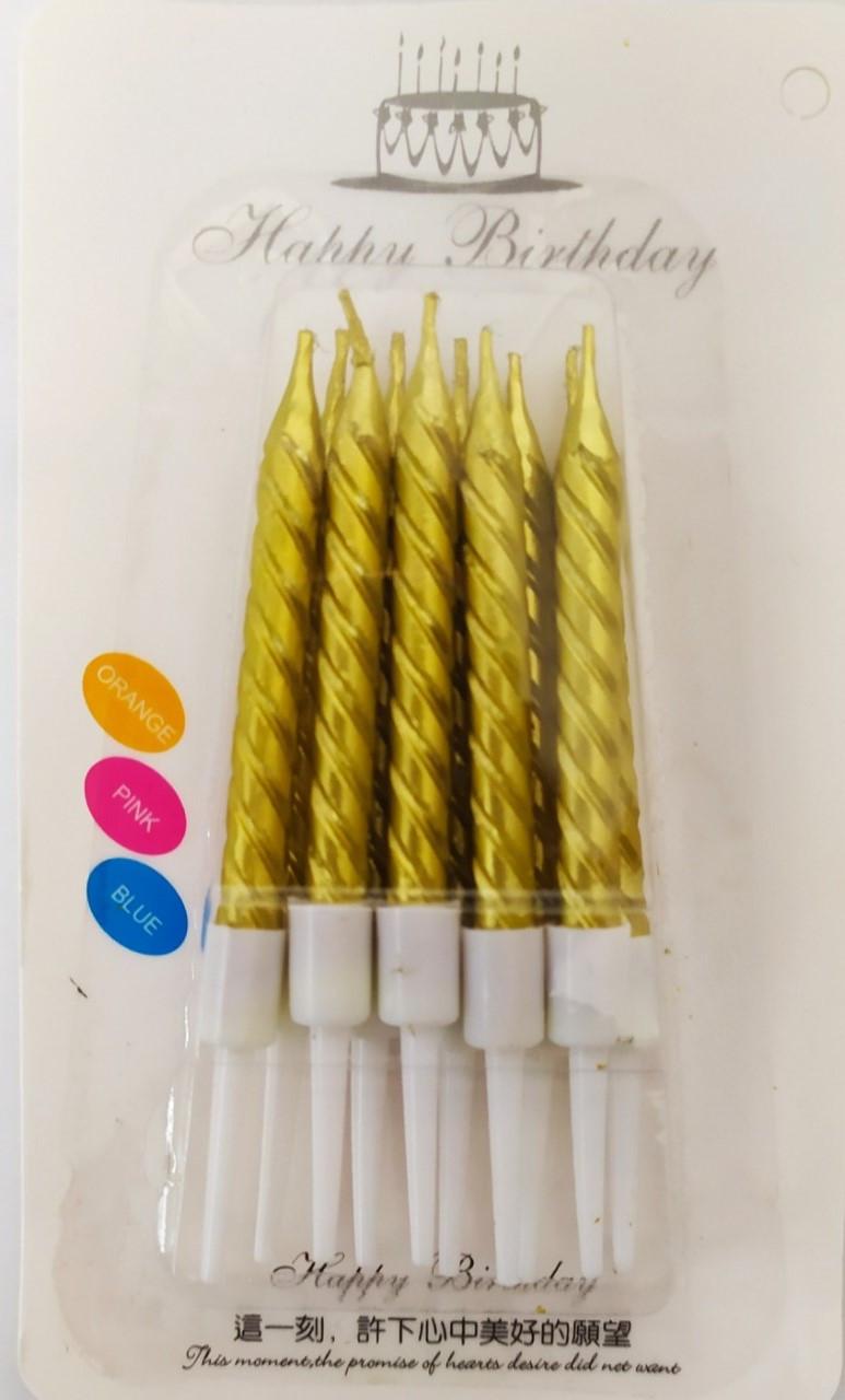 Свечи праздничные прямые золотые металлик 10шт/уп