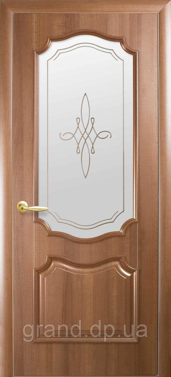 Двери межкомнатные Новый Стиль Рока ПВХ Deluxe со стеклом и рисунком, цвет золотая ольха