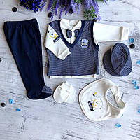 Крестильный костюм, набор на выписку для мальчика Miniworld 6. Размер 62 см