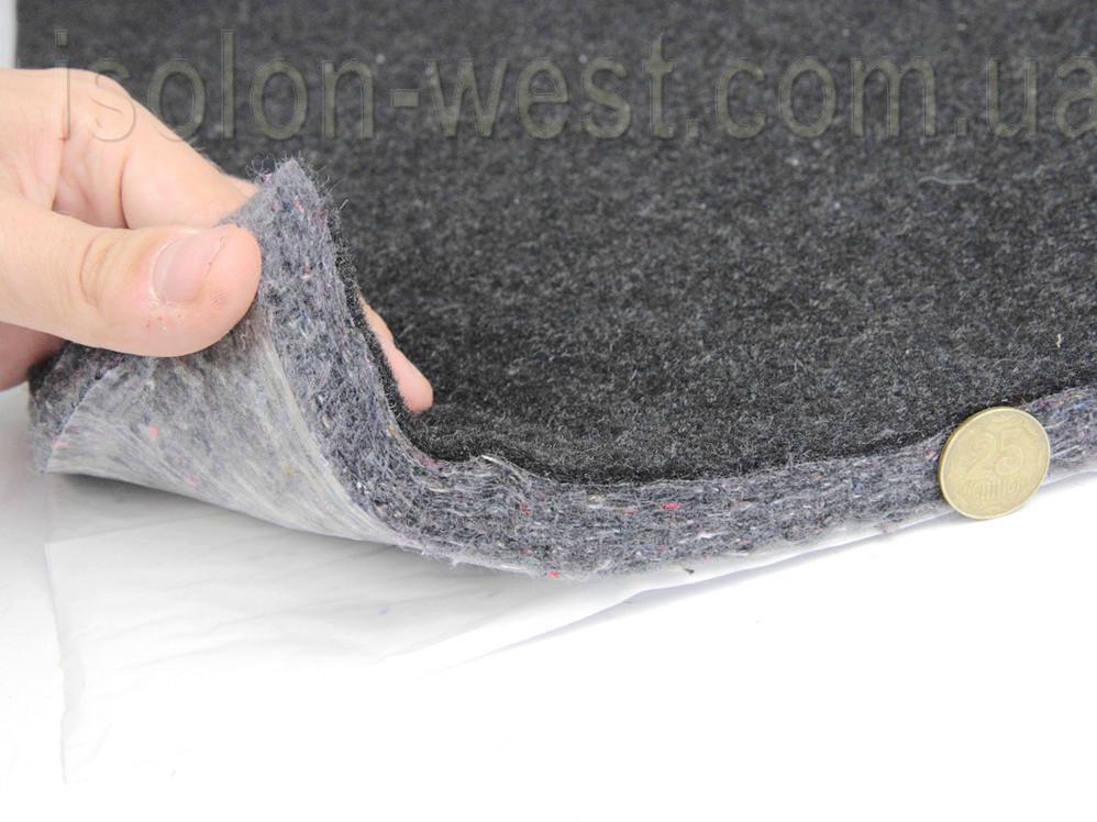 Шумо-звукоизоляция войлочная самоклейка НВ-20К, ламинированная карпетом графит50х69см, толщина 2см