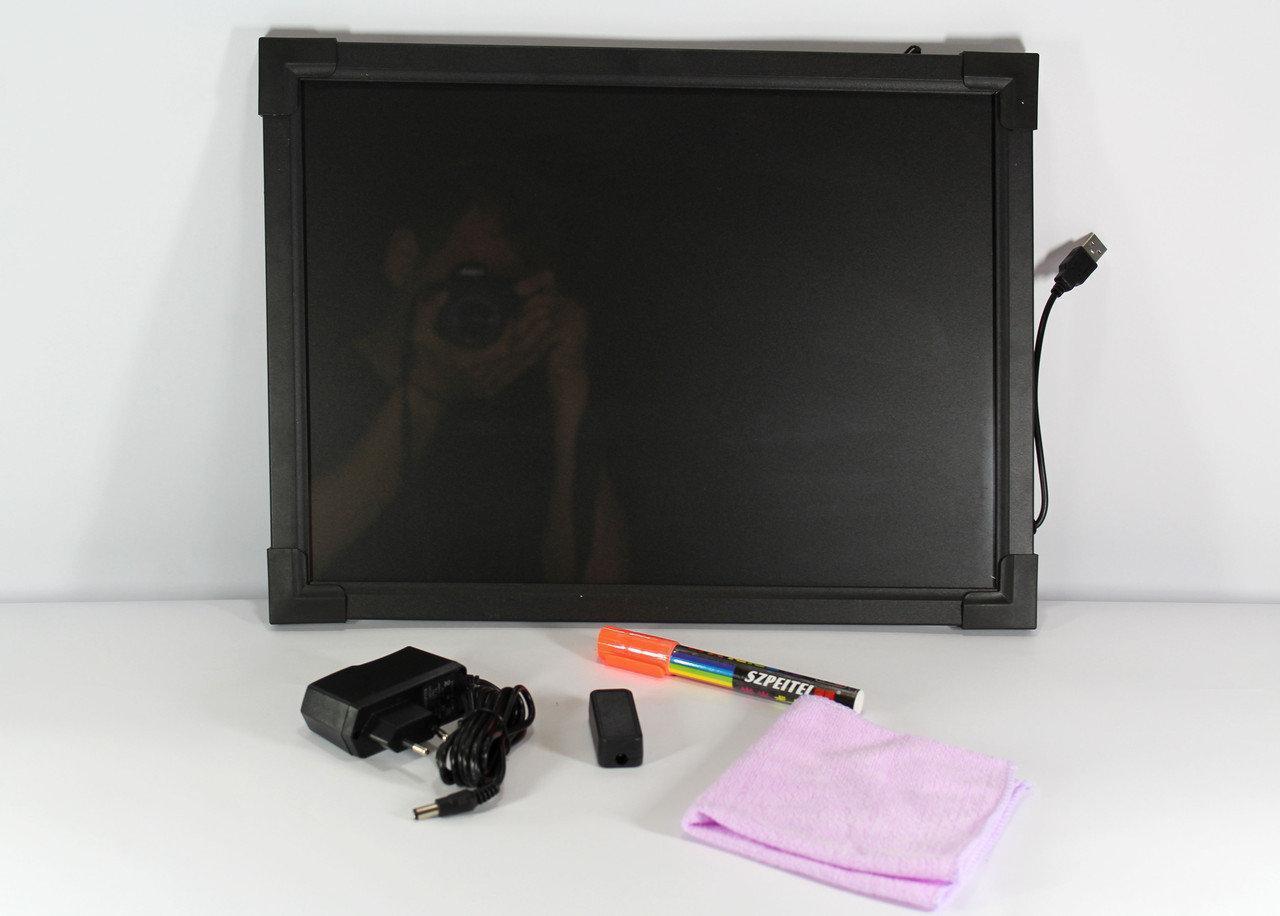 Светящийся борд. LED доска Fluorecent Board 50*70 c фломастером и салфеткой