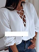 Женская модная блуза со шнуровкой