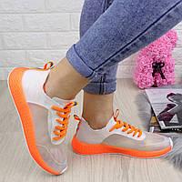 Женские прозрачные кроссовки белые с оранжевым Ibiza 1200, фото 1
