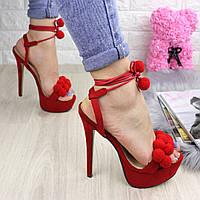 Женские стильные красные босоножки на шпильке 1029-1, фото 1