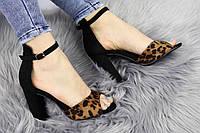 Женские стильные леопардовые босоножки Jayden на каблуке 1178, фото 1