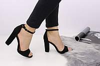 Женские стильные черные босоножки Rafen на каблуке 1121