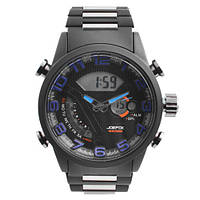 Часы наручные QUAMER 1512, BOX, браслет карбон, dual time, waterproof
