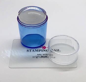 Штамп для стемпинга прозрачный с крышкой и скрапером