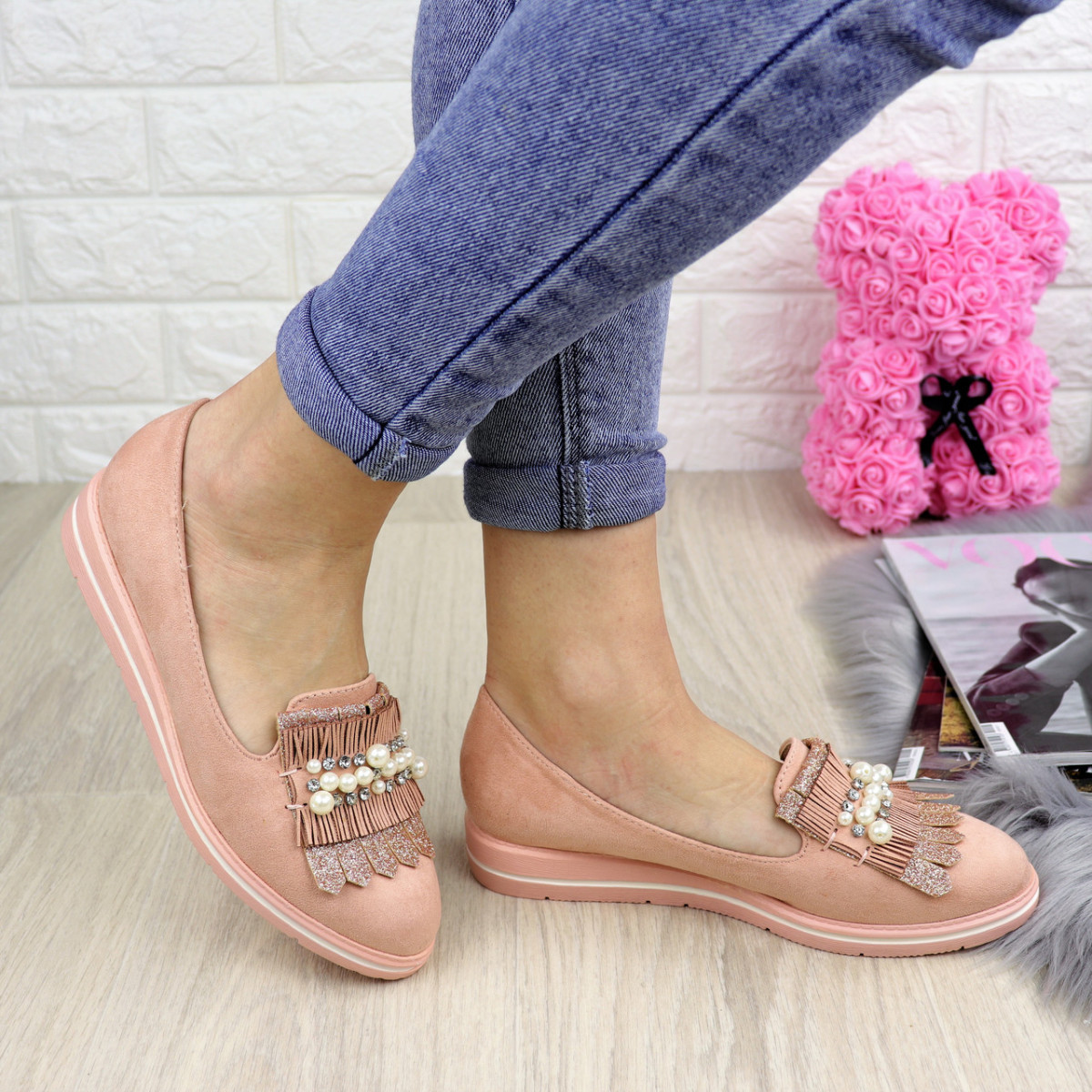 Туфли женские Pearl пудровые 1038