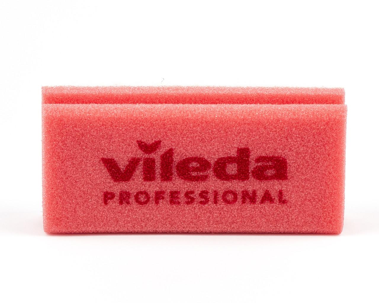 Губка червона білий абразів  7х15 см, Vileda