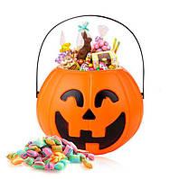 """Ведро для конфет на хэллоуин """"Тыква""""- смеется и светится, декорация на хэллоуин"""