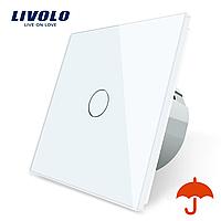Сенсорний вимикач Livolo для вулиці з захистом від бризок IP44 білий скло (VL-C701IP-11), фото 1