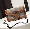 Маленькая женская сумочка  из экокожи на цепочке коричневая, уценка