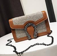 Маленькая женская сумочка  из экокожи на цепочке коричневая, уценка, фото 1