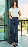 Женские джинсы лосины с высокой посадкой большого размера 52-58 размера синие, фото 1