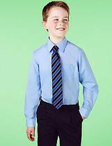 Школьная рубашка голубая с длинным рукавом на мальчика 10 лет Easy to Iron Marks&Spencer (Англия)