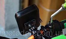 Держатель телефона (навигатора) влагозащитный на руль в чехле - сумочке большой 160 * 100 * 30 мм