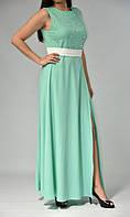 Платье в пол для женщин без рукавов с жемчужинами и поясом  от бренда Adele Leroy.