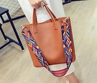 Женская сумка большая + маленькая сумочка набор рыжий , уценка, фото 1