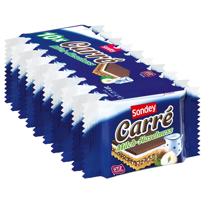 Mолочно-ореховые вафли Sondey Carre, 250гр/10шт (Германия)
