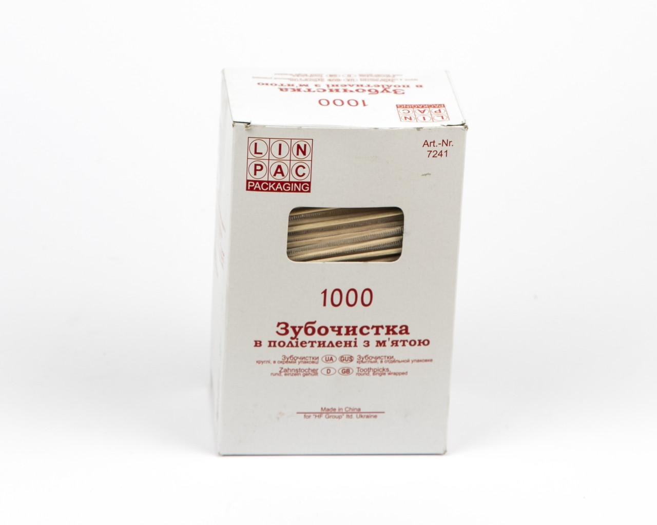 Зубочистки в індівідуальній поліетіленовій упаковці, мята, 1000 шт.
