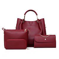 Набор женских сумок 4в1 бордовый из качественной экокожи, уценка