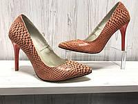 Туфли женские красные кожаные
