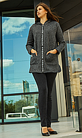Женский  кардиган с капюшоном большого размера