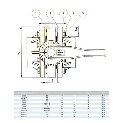 Кран ПВХ мотылек дроссельный с фланцами ERA 315 мм, фото 2