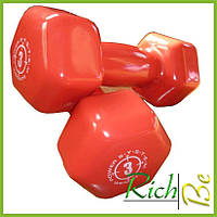 Гантели для фитнеса и аэробики обрезиненные 3 kg (1 шт.)