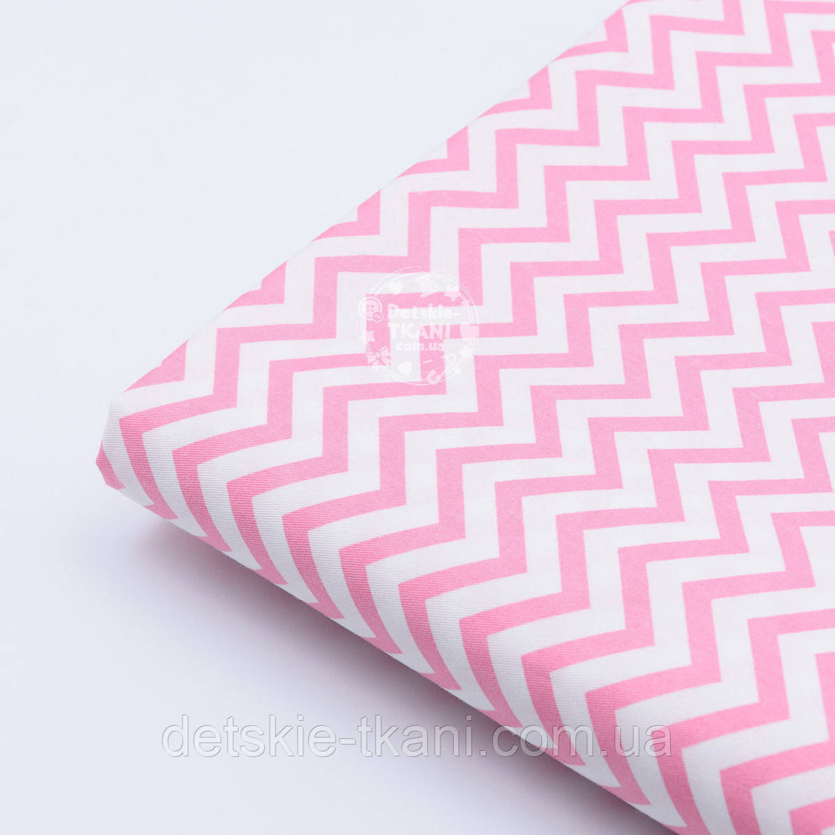 """Отрез сатина """"Густой средний розовый зигзаг"""" на белом, №1777с, размер 87*160"""
