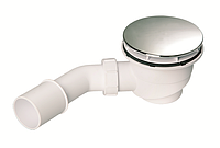 Сифон для душевого поддона d90мм, высотой 82мм, крышка пласт хром 113мм, выпуск 40/50, Mcalpine HC27-CPN-PB